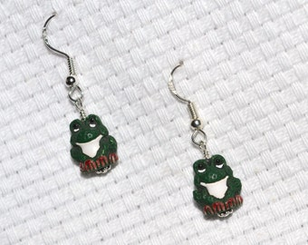 Hand Painted Ceramic Frog Dangle Earrings on Sterling Silver Earwires