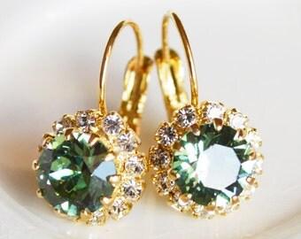 Erinite Bouquet Earrings - Swarovski Green Erinite Tennis Drop Leverback Pavé Earrings