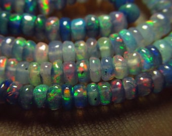 16 inches Full strand - Light Colour Purple Ethiopian Opal - Smooth Polished Rondell Beads Nice Flashy Strong fire size 3 - 3.5 mm approx