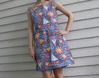 Mosaic Sailboat Dress Nautical Novelty Sea Vintage 60s Sleeveless Cotton Summer Fritzi S