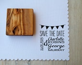 Custom Bunting Adorned Dual Font Wedding Date Olive Wood  Stamp
