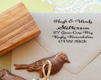 Handwritten Font  Return Address Olive Wood Stamp