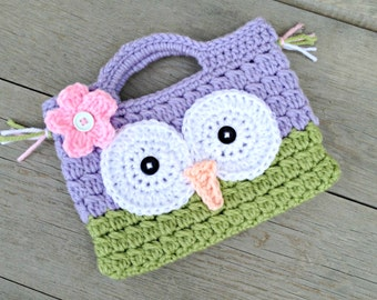 Owl Purse Crochet Stocking Stuffer Gift under 15 Purple and Green