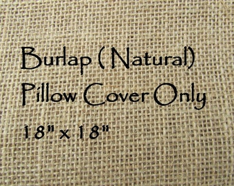 Burlap Pillow Cover 18x18 (Natural) - Pillow Cover Only-JD Designs