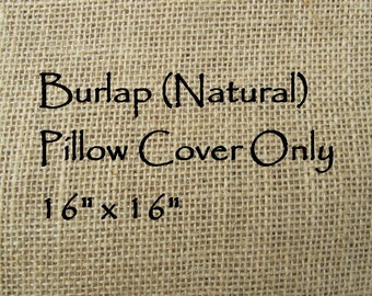 Burlap Pillow Cover 16x16 (Natural) - Pillow Cover Only-JD Designs