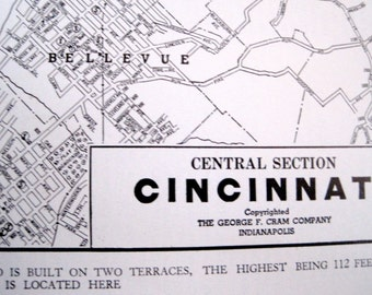 Vintage Cincinatti  Original Map 1946