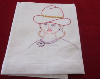 Red Hat Lady Embroidered on Tea Towels - Large 34x36 inches - 2 included