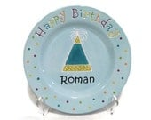 Personalized Happy Birthday Plate - Light Blue