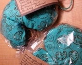 Matching set of eyemask for sleeping, relaxing, or meditation during yoga & eye pillow with organic flaxseed and lavender oil,warm in microw