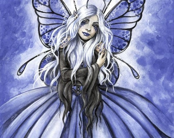 PRINT Azure BLUE watercolor fairy art fantasy 8.5x11