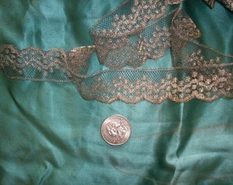 """1 yard of antique french silver lace trim 1"""", more avail."""