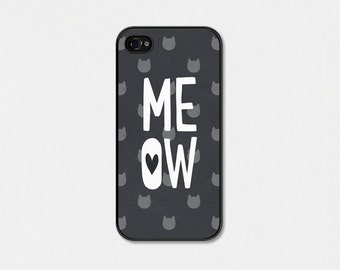 Meow Cat iPhone Case - Cat iPhone 5s Case - Cat iPhone 5c Case - Cat iPhone 4 Case - Cat iPhone 4s Case - Black - Grey White Cat Phone Case