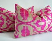 Sukan Designer Pink Ikat Pillow Decorative Floral Pink Velvet Pillow Hot Pink Throw Pillows Pink Pillowcase Throw Pillow Handwoven Pillow