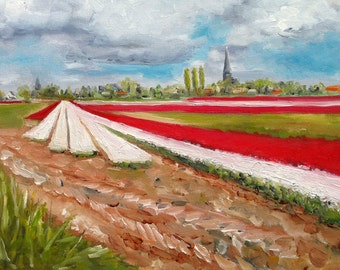 The flowerfields Dutch Landscape Red Tulips White Hyacinthus Hillegom painting original by Nancy van den Boom 30 x 40 cm