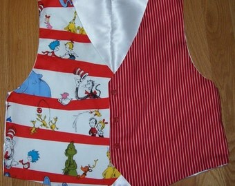 Adult Size Dr Seuss Vest, White Satin back and lining NEW Custom Made Almost any size