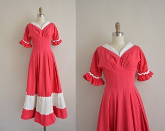 1950s vintage dress / 50s pink dress / 50s cotton dress