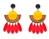 Dangle statment earrings, Wood and Yellow Plastic earrings with red long vintage  beads