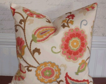Decorative Pillow Cover: 18 X 18 Crewel Effect Floral Suzani Pattern in Shades of Lime, Terracotta, Blue and Pink