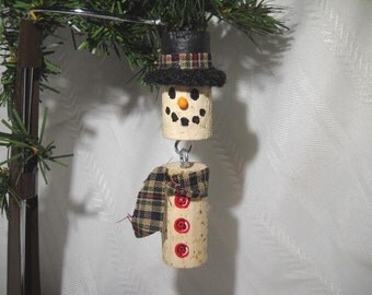 Wine Cork Snowman Ornament