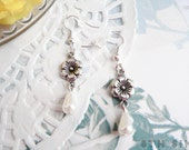 Antique Silver Flower & White Teardrop Pearl Earrings