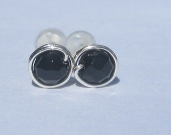 Tiny Black Onyx Stud Earrings (5mm), Gemstone Stud Earrings, Wire Wrapped Sterling Silver Stud Earrings, Little Faceted Black Stud Earrings