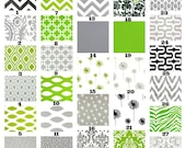 Green Gray Pillow Covers, Decorative Throw Pillow, Cushion Covers, Grey Green Black White, Couch Bed Sofa, One or More ALL SIZES Mix & Match