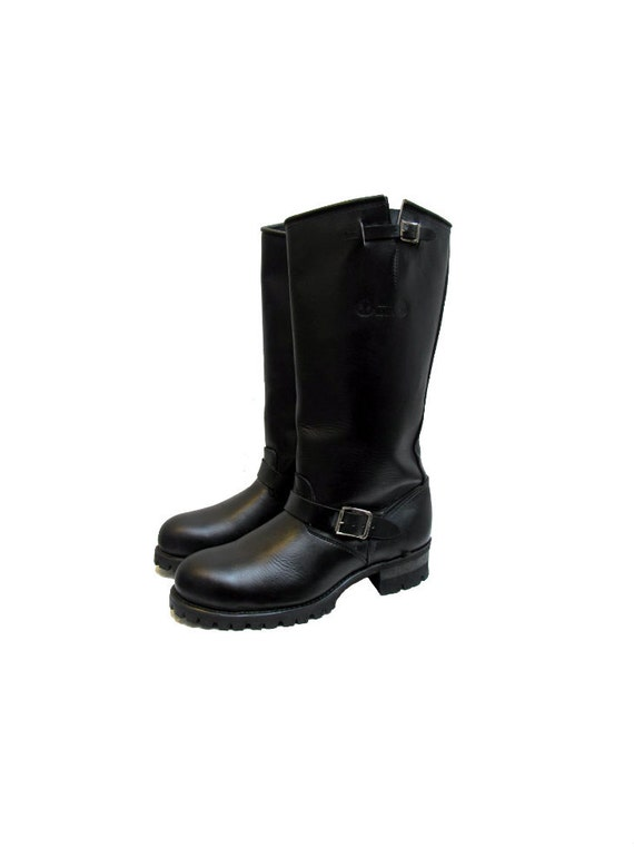 knee high motorcycle boots mens size 11 vintage black leather
