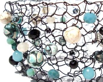 Arm Cuff Bracelet Turquoise Cuff Black Onyx Bracelet Beaded Bracelets Knit Jewelry Statement Bracelet Colorful Bracelet Contemporary Jewelry