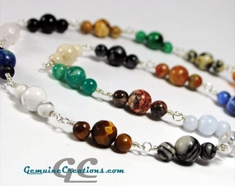 Gemstone Melody Necklace - Sterling Silver, 20 Natural Gemstones!, Handmade Chain, Rainbow of Colors