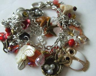 Birds, charms bracelet, loaded bracelet, bird watcher, bird bracelet, nest, feather, owl, cream, white, brown, by NewellsJewels on etsy