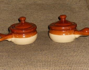 Stoneware French Onion Soup Crocks/Bowls w Lids-Set of 2