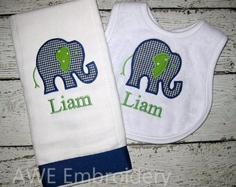 Monogrammed Bib and Burp Cloth  Set with Blue and Green Elephant for Baby - Embroidered Personalized