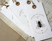 6 Bee French Gift Tags, French Ephemera, Vintage Style. Recycled Paper, Set of 6, Jumbo Tags