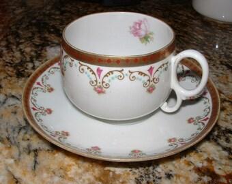Delicate Antique Porcelain Cup and Saucer, Habsburg, Austria