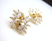 wedding bridal jewelry bridesmaid gift prom party christmas pageant gold earrings marquise cluster cubic zirconia post stud