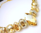 Bridal wedding Swarovski golden shadow vintage multi shape foiled pendant crystal rhinestone chunky bib statement necklace with gold chain
