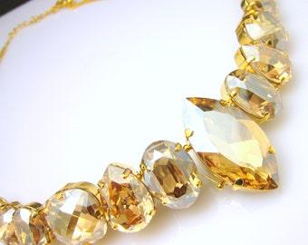 Bridal wedding Swarovski golden shadow vintage multi shape foiled pendant crystal rhinestone chunky bib statement necklace with gold chain