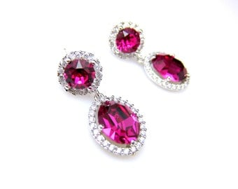bridesmaid gift Swarovski fuchsia oval drop crystal rhinestone crystal with white gold plated cubic zirconia decorated round post earrings.