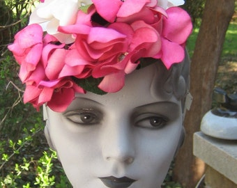 Fab Vintage 1930s 1940s Hot Pink N White Spring Summer Hat WOW