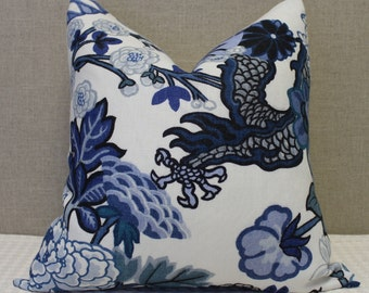 "Schumacher Chiang Mai Dragon in  Blue China - 20""X20"" - Pattern on the front"