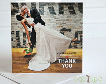 Square eco-friendly thank you card / Set of 20 / Wedding photo on cover, totally you