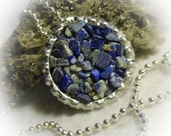 Lapis Lazuli Stone Bottle Cap Pendant 20 inch Necklace