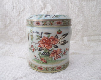 white vintage DECORATIVE TIN - gold, floral, Asian, Made in ENGLAND