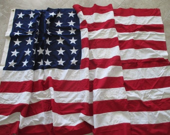 antique 48 star extra large 5' x 9.5' American flag- cotton, Fourth of July, Memorial Day