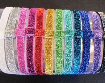Your Choice of 1 Glitter Interchangeable headbands - elastic - Sparkle - bow stretch