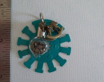Teal Gear watch part pendant with rocking horse charm