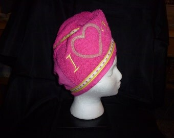 Hair Wash Turban - Hot Pink Embroidered with I Heart Mom - Ready to Ship