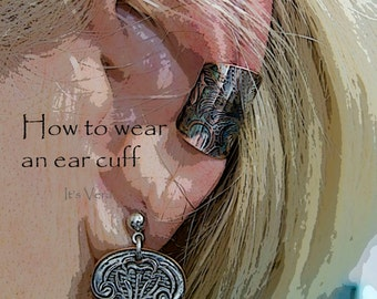 Ear cuff, handmade ear cuff, metal ear cuff, unique ear cuff collection, non pierced earring, dark ear cuff, guy ear cuffs, accessories