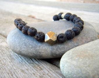 CLEARANCE SALE - Pyrite and Lava Rock Bracelet . Geometric Minimalist Bracelet