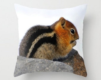 FURRY FRIEND, Throw Pillow Cover, Outdoor Art Pillow, Chipmunk, Fluffy, Brown, White, Black fur, Nature Photo, Winter Home Decor, Snow Scene